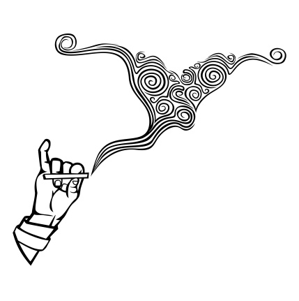 Hand holding a cigarette with smoke rings, a stylized monochrome vector image.